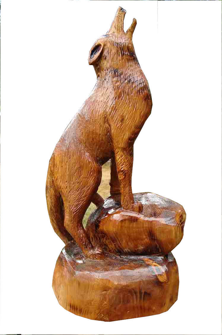 bear cub chainsaw carving.Carved in 2015
